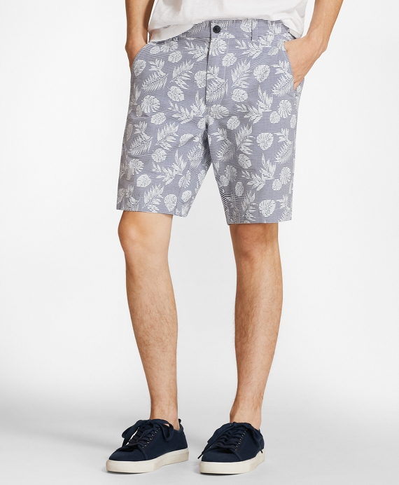 Tropical Print Cotton Twill Shorts Navy