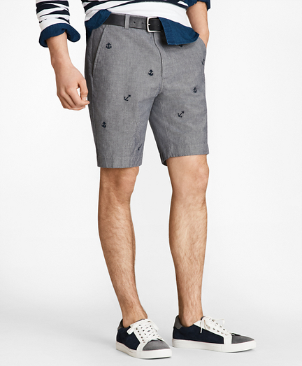 Embroidered Anchor Chambray Shorts