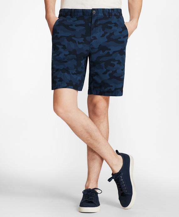 Camo-Pattern Cotton Twill Shorts Blue