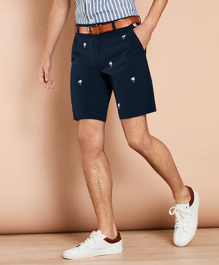 Embroidered Palm Tree Seersucker Shorts