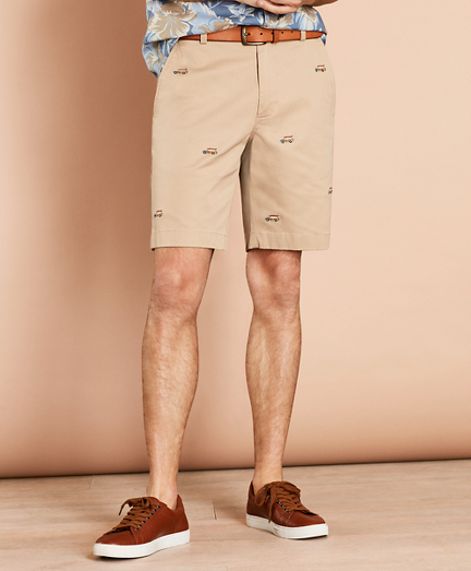 Embroidered Car Cotton Twill Shorts