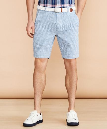 Horizontal Stripe Cotton-Linen Shorts