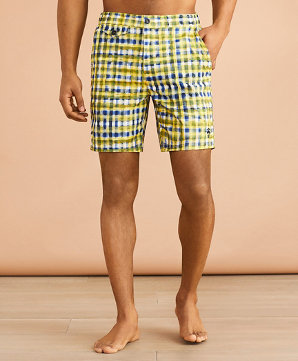 "Plaid 7"" Zip Swim Trunks"
