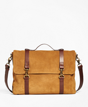 Suede Convertible Brief/Messenger Bag