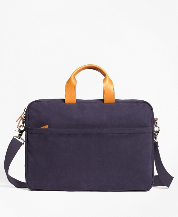 Brushed Cotton Twill Briefcase Blue
