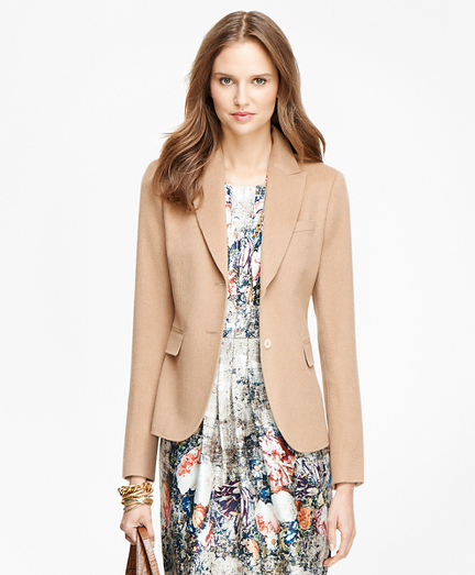 Petite Camel Hair Two-Button Jacket