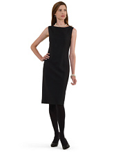 Petite Double Faced Wool Stretch Shift Dress