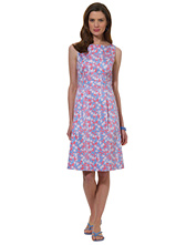 Petite Country Club Cotton Stretch Mini Floral Print Dress