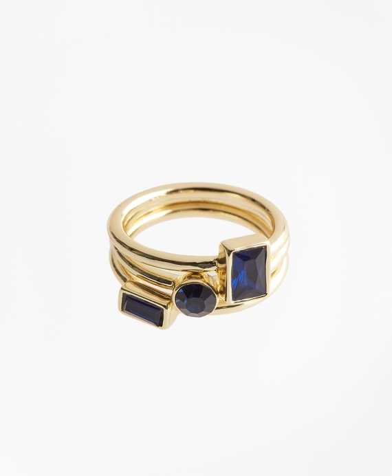 Stackable Stone Ring Set Gold