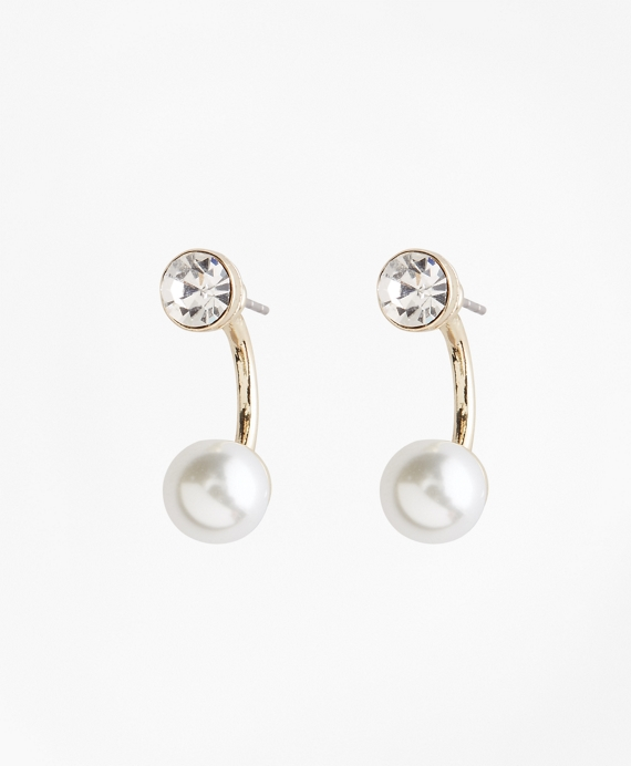 Pearl and Crystal Front-Back Earrings
