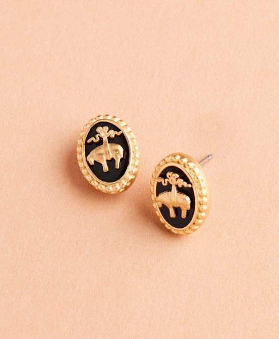 Gold-Plate & Enamel Golden Fleece® Stud Earrings