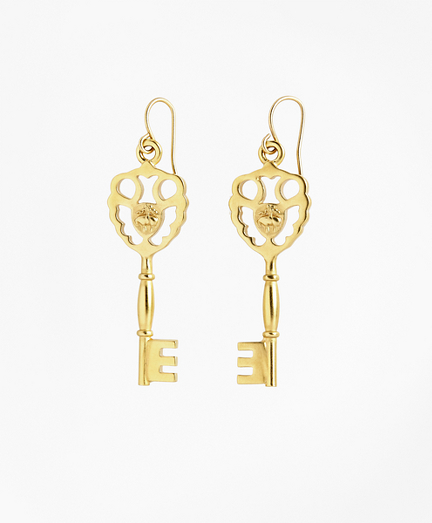 Gold-Plated Key Drop Earrings