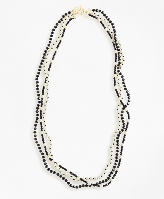 Three-Strand Necklace Black-White