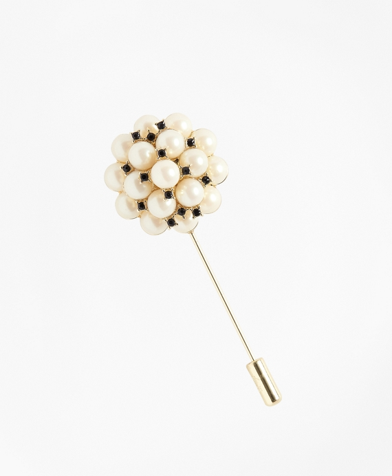 Glass Pearl Brooch Black-White