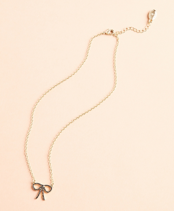 Crystal Pave Bow Necklace Gold