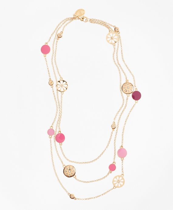 Three-Strand Enamel Charm Necklace Gold