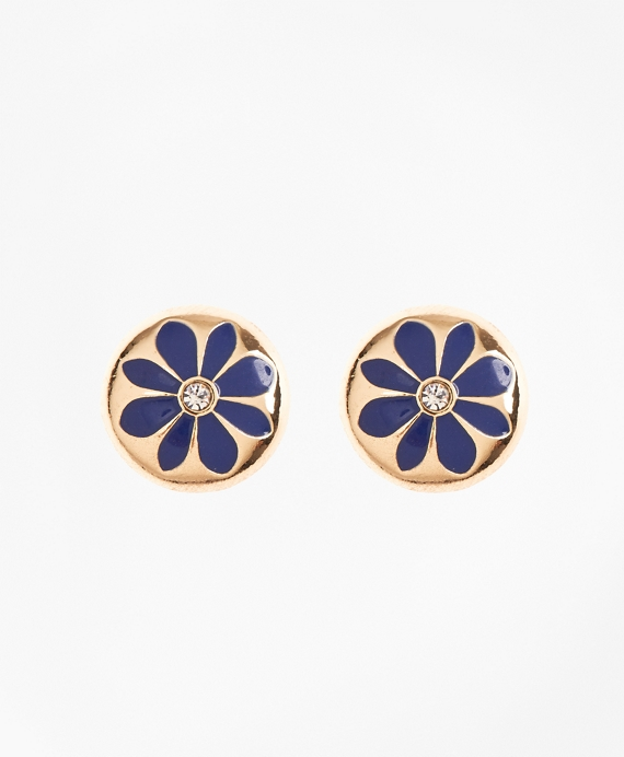 Enamel Floral Stud Earrings Gold