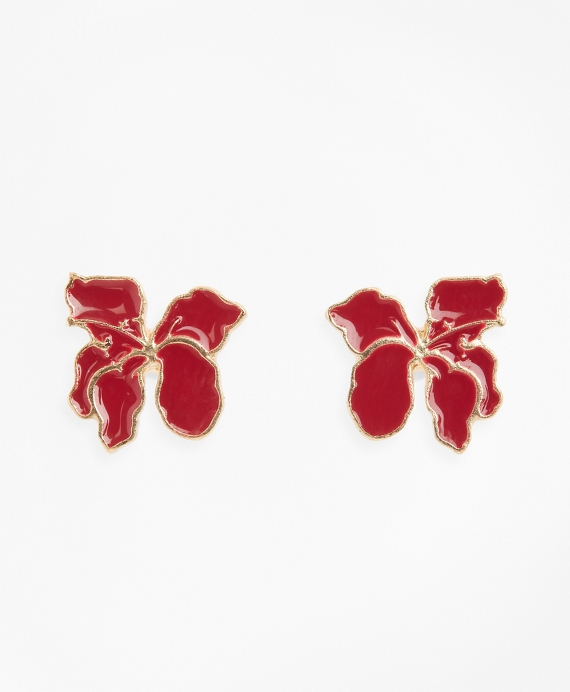 Gold-Plated Hibiscus Stud Earrings