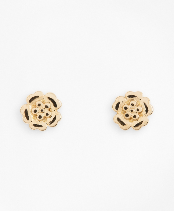 Floral Stud Earrings Gold