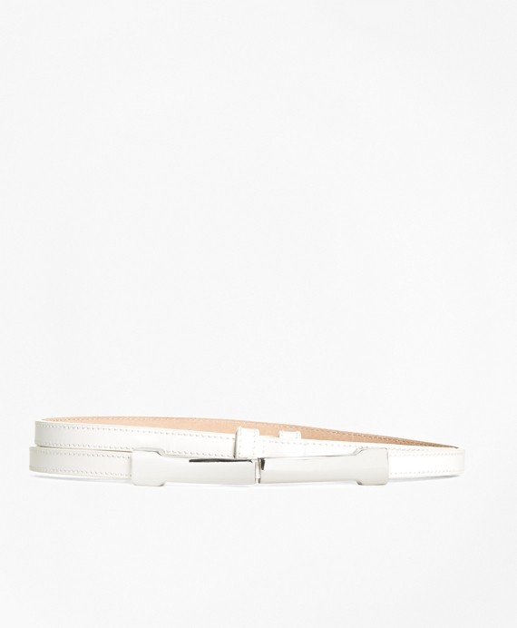 Leather Metal Buckle Belt White