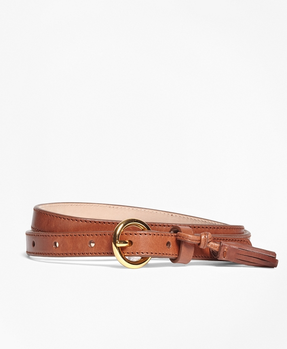 Leather Trouser Belt with Tassel Brown