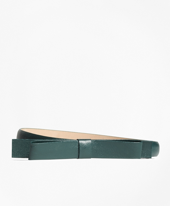 Leather Bow Belt Green