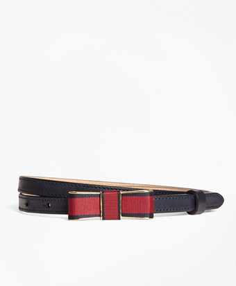 Leather Bow-Buckle Belt