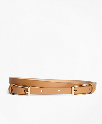 Leather Two-Buckle Belt