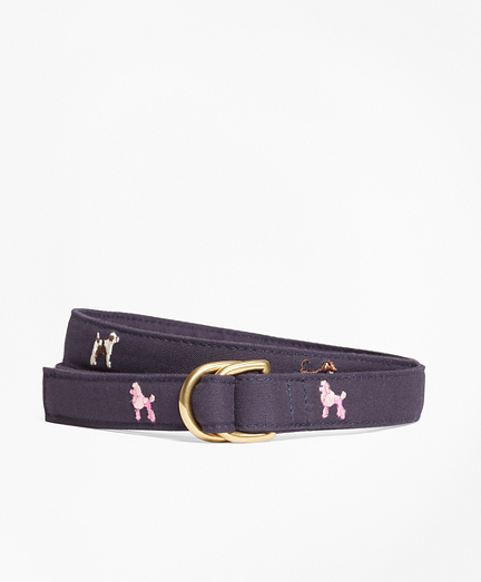 Dog-Embroidered D-Ring Belt
