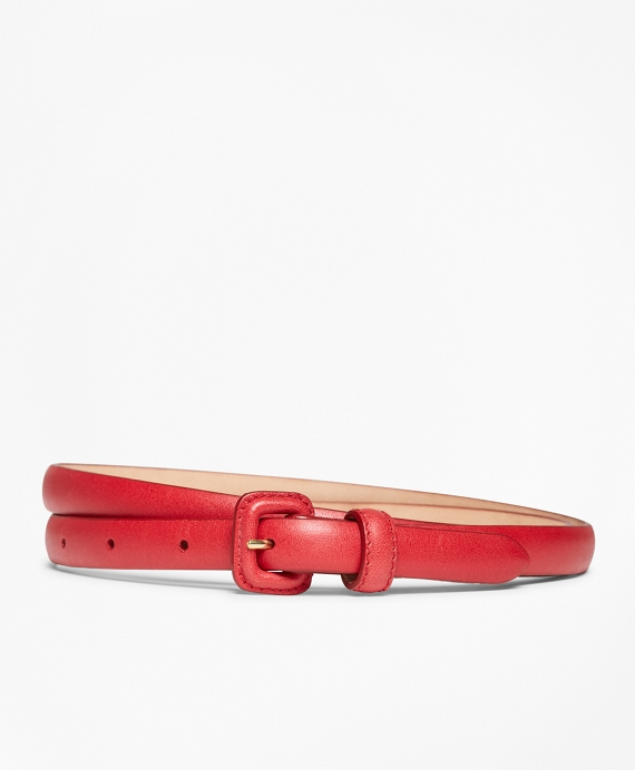 Skinny Leather Belt Red