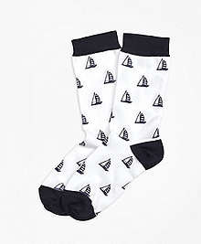 Sailboat Cotton Blend Crew Socks