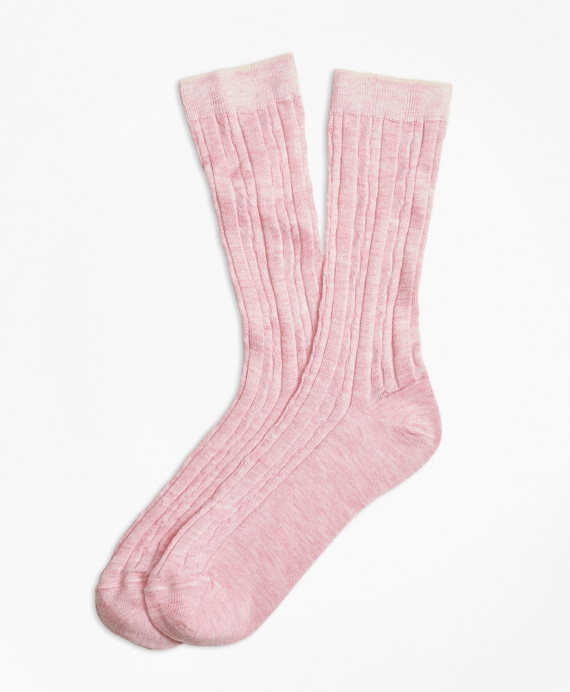 Cable Crew Socks Light Pink