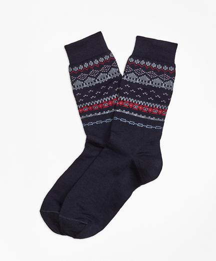 Wool-Blend Fair Isle Socks