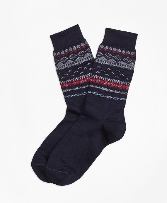 Wool-Blend Fair Isle Socks Navy
