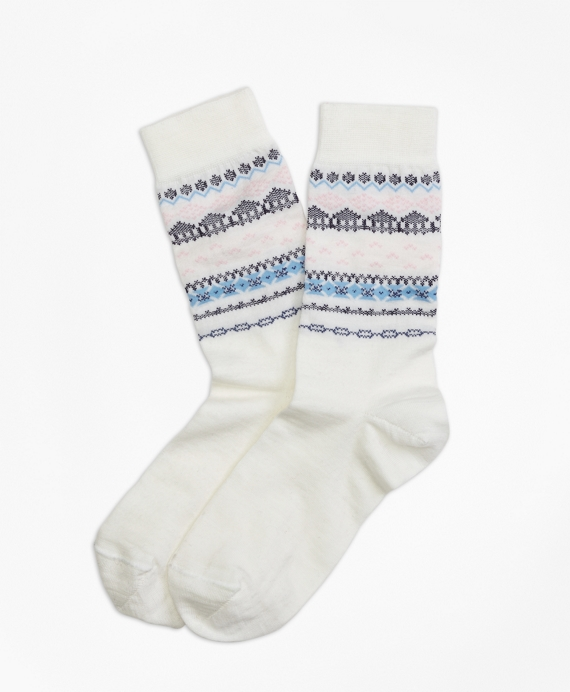 Wool-Blend Fair Isle Socks White