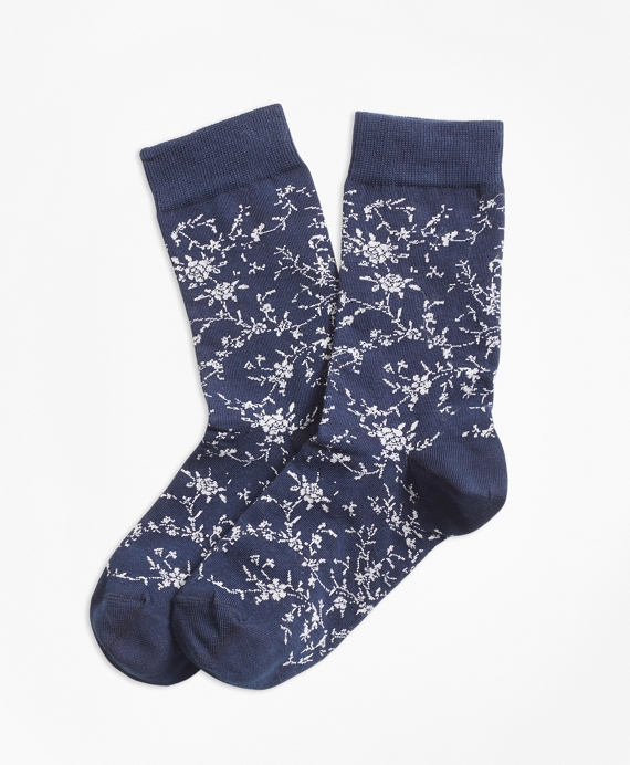 Floral Socks Navy-White