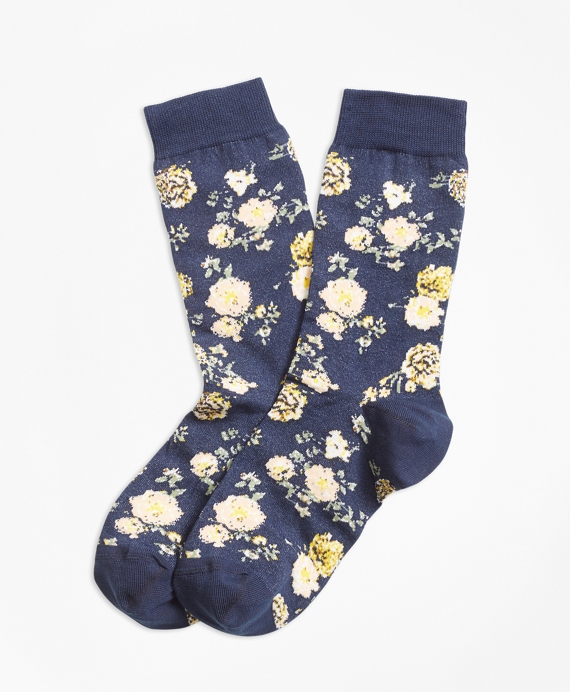 Floral Socks Navy-Multi