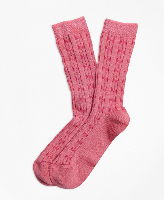 Cable-Knit Socks Pink