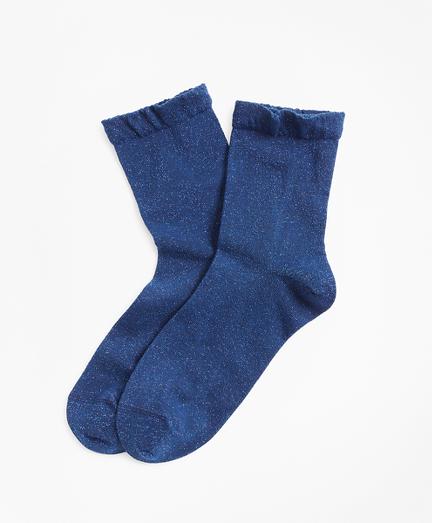 Ruffled Shimmer-Knit Socks