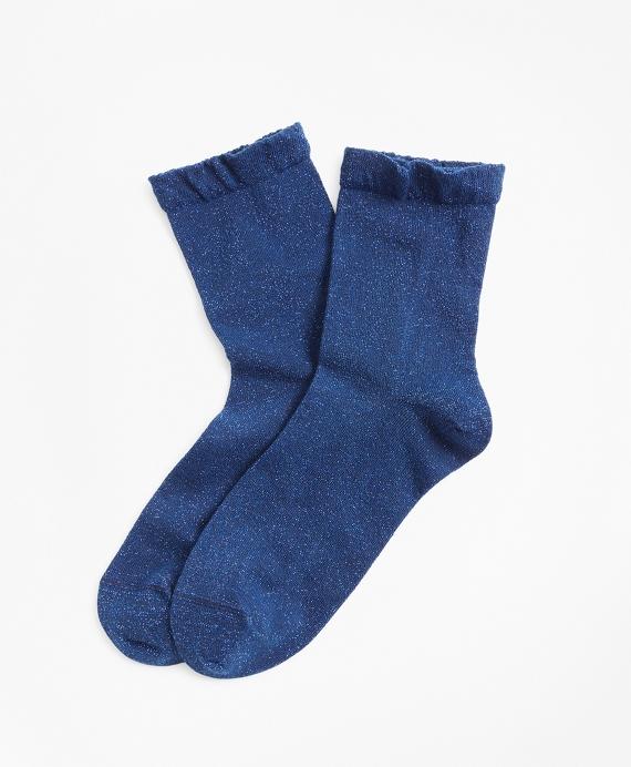 Ruffled Shimmer-Knit Socks Blue