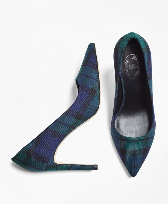 Black Watch Wool Pumps Navy-Green