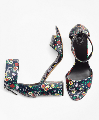 Floral Ankle-Strap Stacked-Heel Sandals