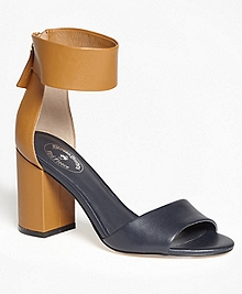 Color-Block Ankle-Strap Stacked-Heel Sandals