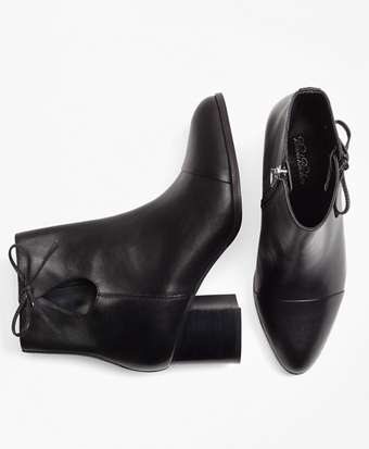 Bow-Trimmed Leather Ankle Boots