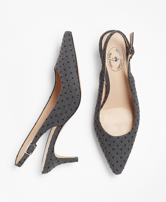Polka-Dot Sling-Back Kitten Heel Pumps Dark Grey