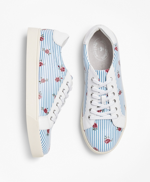 Rose-Print Striped Leather Low-Top Sneakers Light Blue-Multi
