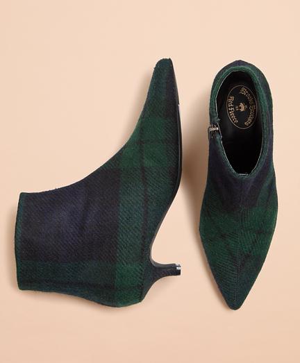 Black Watch Tartan Wool Kitten-Heel Ankle Boots