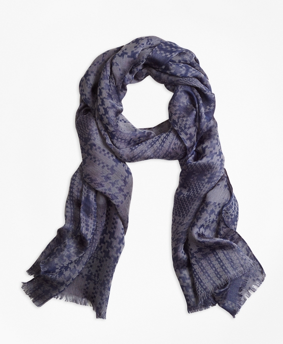 Houndstooth Scarf Navy Grey