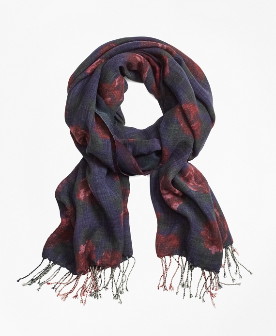 Floral Plaid Wool Scarf Navy-Red
