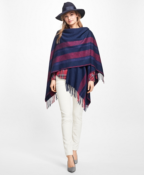 Stripe Wool Ruana Navy